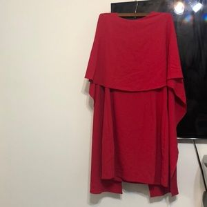 Fuchsia backless cape front dress